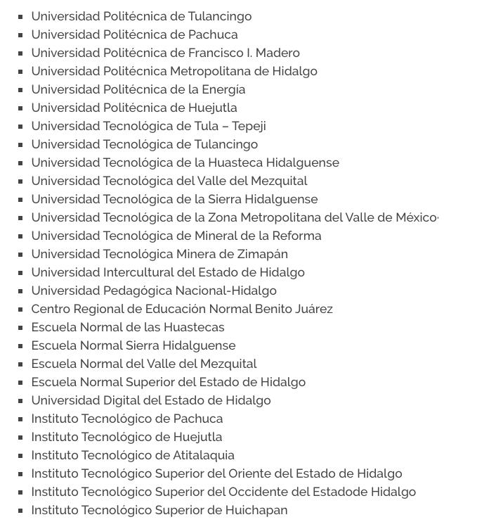 UNIVERSIDADES BECA MIGUEL HIDALGO