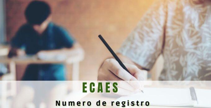 Cómo saber el número de registro ECAES